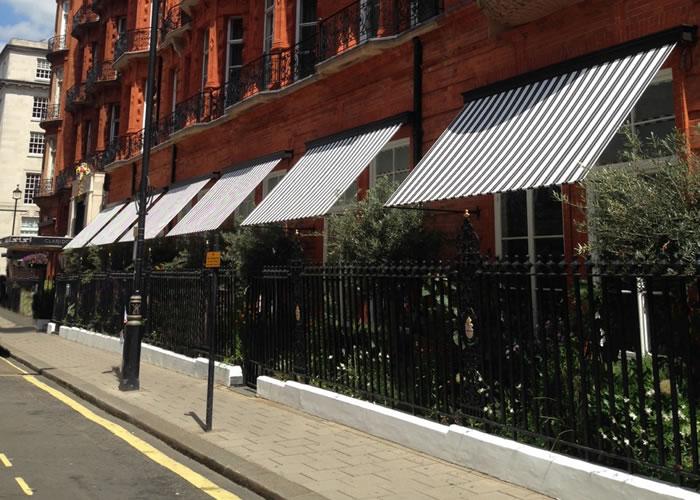 Elegant Marlesbury Awning® recreated by Morco for World-famous Claridge's