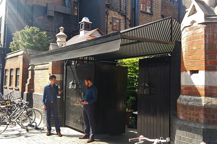 Fremantle Urban® Entrance Canopy incorporating Parisian® top awning for Chiltern Firehouse, Marylebone