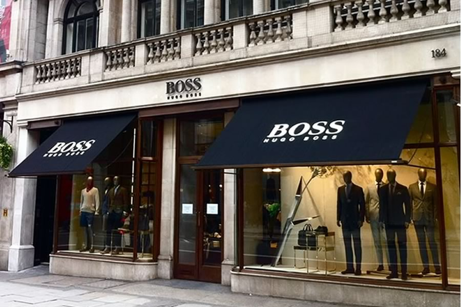 Hugo Boss Flagship store use Victorian style awnings by Morco