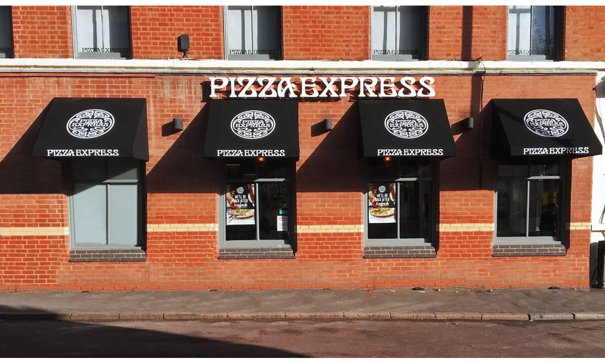Pizza Express awnings by Morco