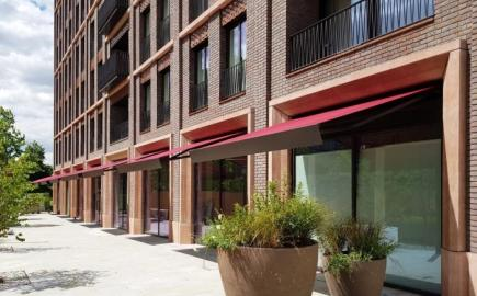 SQ2 Folding-Arm awnings at Fenman House, King's Cross
