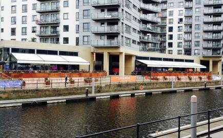 Bellfort Awning® terrace awnings with Rib Panel® bar and restaurant canopies for Leeds Dock urban regeneration project